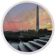Washington And Steps Round Beach Towel