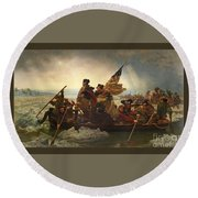 Round Beach Towel featuring the photograph Washington Crossing The Delaware by John Stephens