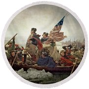 Washington Crossing The Delaware River Round Beach Towel by Emanuel Gottlieb Leutze