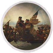 Washington Crossing The Delaware Round Beach Towel by War Is Hell Store