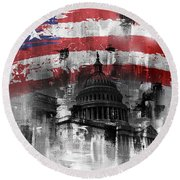 Round Beach Towel featuring the painting Washington Dc Building 01a by Gull G