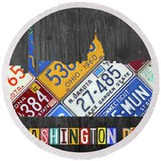 Washington Dc Skyline Recycled Vintage License Plate Art Round Beach Towel by Design Turnpike