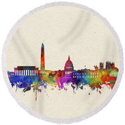 Washington Dc Skyline Watercolor 2 Round Beach Towel