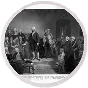Washington Delivering His Inaugural Address Round Beach Towel