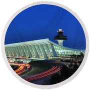 Washington Dulles International Airport At Dusk Round Beach Towel