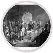 Washington Meeting His Generals Round Beach Towel