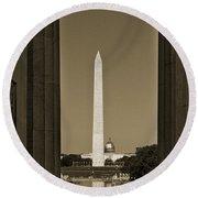 Washington Monument And Capitol #4 Round Beach Towel