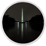 Round Beach Towel featuring the photograph Washington Monument At Night by Ed Clark