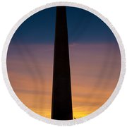 Washington Monument At Sunset Round Beach Towel