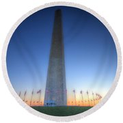 Round Beach Towel featuring the photograph Washington Monument At Sunset by Shelley Neff