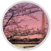 Round Beach Towel featuring the photograph Washington Monument Cherry Blossom Festival by Shelley Neff