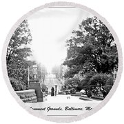 Washington Monument Grounds Baltimore 1900 Vintage Photograph Round Beach Towel by A Gurmankin