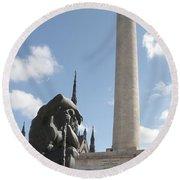 Washington Monument In Baltimore Round Beach Towel
