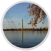 Washington Monument Round Beach Towel by Megan Cohen