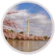 Washington Monument With Cherry Blossom Round Beach Towel by Rima Biswas
