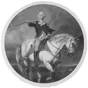 Washington Receiving A Salute At Trenton Round Beach Towel