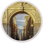 Washington Square Golden Arch Round Beach Towel by Jeffrey Friedkin
