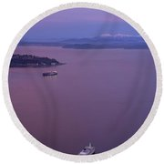 Washington State Ferry Sunrise Light Round Beach Towel by Mike Reid