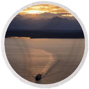 Washington State Ferry Sunset Round Beach Towel by Mike Reid