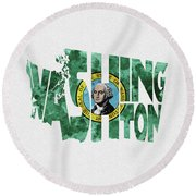 Washington Typographic Map Flag Round Beach Towel