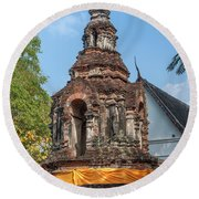 Wat Jed Yod Phra Chedi Containing Image Of Buddha Dthcm0911 Round Beach Towel by Gerry Gantt