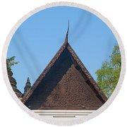 Wat Jed Yod Phra Ubosot Teakwood Gable Dthcm0968 Round Beach Towel