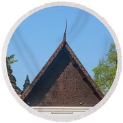 Wat Jed Yod Phra Ubosot Teakwood Gable Dthcm0968 Round Beach Towel by Gerry Gantt