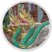 Wat Nam Phueng Phra Wihan Naga Guardians Dthla0007 Round Beach Towel