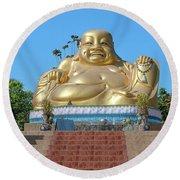 Wat Piyaram Wealth Luck Buddha Shrine Dthcm1233 Round Beach Towel