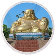 Wat Piyaram Wealth Luck Buddha Shrine Dthcm1233 Round Beach Towel