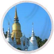 Wat Suan Dok Buddha Relics Chedi Dthcm0949 Round Beach Towel