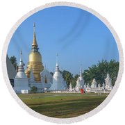 Wat Suan Dok Reliquaries Of Northern Thai Royalty Dthcm0944 Round Beach Towel by Gerry Gantt