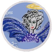 Watch For Angels Round Beach Towel
