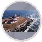 Watch Hill Lighhouse Round Beach Towel