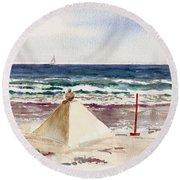 Watch Hill Ri Sand Sculpture Round Beach Towel