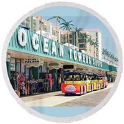 Watch The Tram Car - Wildwood, Nj Round Beach Towel