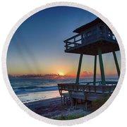 Watch Tower Sunrise 2 Round Beach Towel