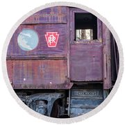Round Beach Towel featuring the photograph Watch Your Step Vintage Railroad Car by Terry DeLuco