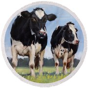 Watchful Cows Mini Painting  Round Beach Towel
