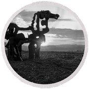 Watchful The Iron Horse  Round Beach Towel
