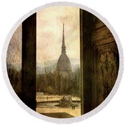 Watching Antonelliana Tower From The Window Round Beach Towel