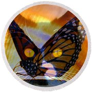 Round Beach Towel featuring the photograph Watching Butterlies by David Lee Thompson