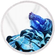 Watching Liberty Round Beach Towel