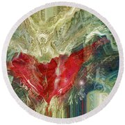 Round Beach Towel featuring the digital art Watching Over  by Linda Sannuti