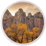 Round Beach Towel featuring the photograph Watching Over Zion  by Dustin LeFevre