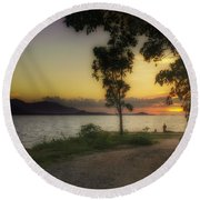 Watching Sunset Round Beach Towel