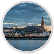 Watching The City Lights, Nijmegen Round Beach Towel