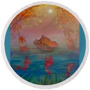 Watching The Dance Of The Fallen Elements Round Beach Towel