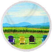 Watching The Grapes Grow Round Beach Towel