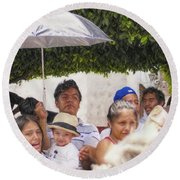 Round Beach Towel featuring the photograph Watching The Parade by John Kolenberg